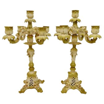 Pair of Antique German Porcelain Convertible Candelabra
