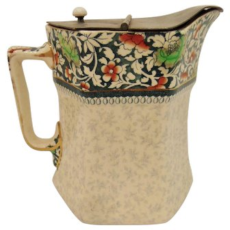 Antique Royal Doulton Floral Chintz Jug with Pewter Lid