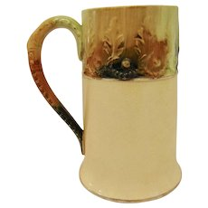 Early Hampshire Pottery Stein Tankard Mug Majolica Leaf & Berry