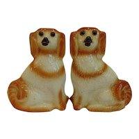 """Pair 11"""" Antique Staffordshire Spaniel Dogs Glass Eyes"""