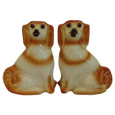 "Pair 11"" Antique Staffordshire Spaniel Dogs Glass Eyes"