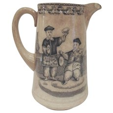 Mid 1800s J Thomson & Sons Annfield Pottery Glasgow Shanghai Jug Pitcher