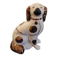 Antique Staffordshire Spaniel Dog with Copper Luster