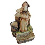 Antique Majolica Drinking Monk Smoke Set