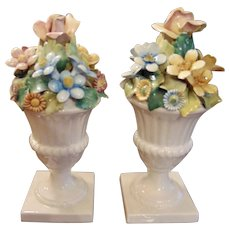 Vintage 1930s Italian Urns Candleholders with Flowers