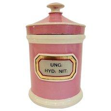 Antique Staffordshire Chemist Apothecary Jar Label under Glass