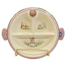 Vintage Baby Girl Feeding Dish with Warmer