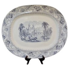 "Huge Antique Staffordshire Transferware Platter ""Rhine"""