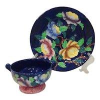 1930s Maling England Tubelined Peonies Plate and Sugar Bowl