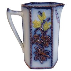 Antique Flow Blue Gaudy Welsh Copper Luster Pitcher