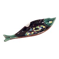 Mid Century Keramos Mosaic Pottery Fish Bowl