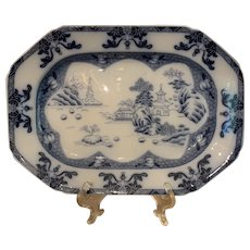 Antique Spode Copeland Landscape Blue and White Platter