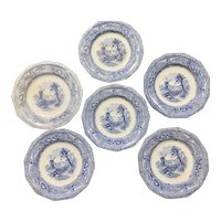 Set of 6 Antique G Wooliscroft Eon Blue and White Staffordshire Plates