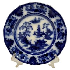 Antique Staffordshire Flow Blue Tonquin Plate W Adams