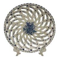Vintage Gouda Holland Pierced Lattice Low Bowl