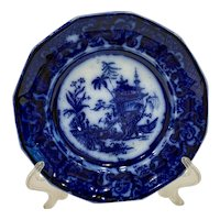 Antique Meir Chen-Si Flow Blue Staffordshire Plate
