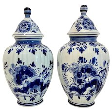 Pair of Hand Painted Blue Delft Lidded Ginger Jars