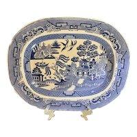 Ca 1835 Antique Staffordshire Blue Willow Platter