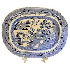 Ca 1835 Antique Staffordshire Blue Willow Platter