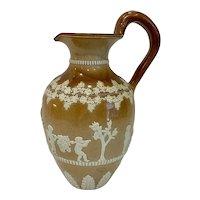 1884 Large Doulton Lambeth Ovoid Sprigged Stoneware Wine Jug