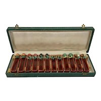 Set of 12 French Majolica Knife Rests in Original Box