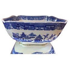 Early 1800s Spode Staffordshire Blue Willow Large Square Bowl