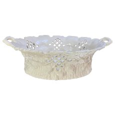 Vintage Mottahedeh Italy Pierced Oval Basket Bowl
