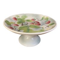 St Clement France Faience Compote Cake Plate Raspberries