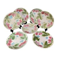 Set of 7 Antique St Clement French Faience Strawberries Plates
