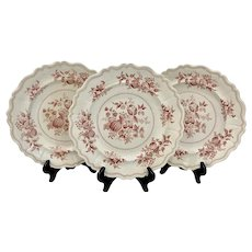 Set of 3 Antique Pearlware Staffordshire Fruit Garden Dinner Plates