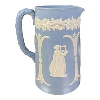 Antique Dudson Blue and White Jasperware Pitcher