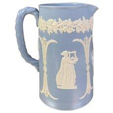 Antique Dudson Blue and White Jasperware Pitcher
