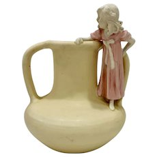 Art Nouveau Amphora Pottery Vase with Girl