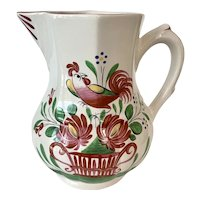 Vintage St Clement France Faience Chanticleer Pitcher