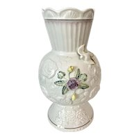 "Belleek Porcelain 10"" Songbird Vase"