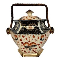 Antique Gaudy Welsh Lingard Imari Biscuit Jar