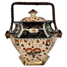 Antique Gaudy Welsh Lingard Imari Biscuit Jar