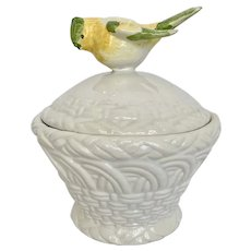 Vintage Italy Faience Basketweave Lidded Bowl with Bird