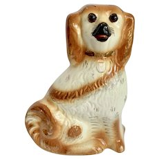 "Large 11"" Antique Staffordshire Dog Glass Eyes"