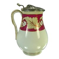 """1800's Staffordshire 8"""" Milk/Syrup Pitcher, Pink Luster, Rope Handle"""