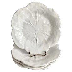 4 Vintage Bordallo Pinheiro White Cabbage Luncheon Salad Plates
