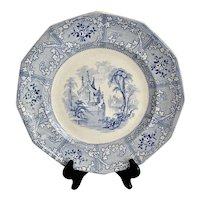 Mid 1800s Antique Davenport Friburg Blue and White Ironstone Plate