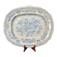 C 1860 Large Asiatic Pheasants Blue and White Staffordshire Platter