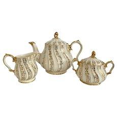 Vintage Sadler England Floral Swirl Teapot Creamer Sugar Set