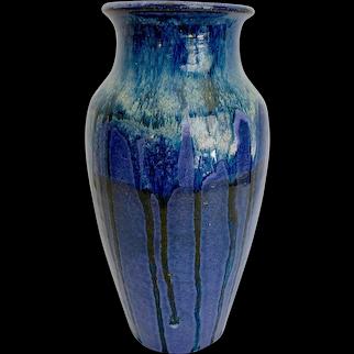 Signed Marvin Bailey Blue Drip Glaze Vase