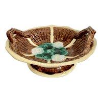 Antique Majolica Lotus Blossom Pedestal Bowl