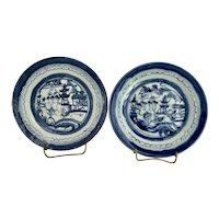 2 Antique Chinese Canton Blue Willow Plates