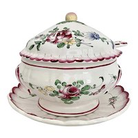 Luneville France Faience Tureen Ladle & Underplate