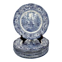 Set of 8 Liberty Blue Staffordshire Dinner Plates