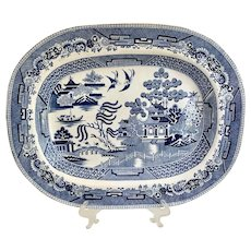 Early 1800s Large T & B G  Blue Willow Staffordshire Platter